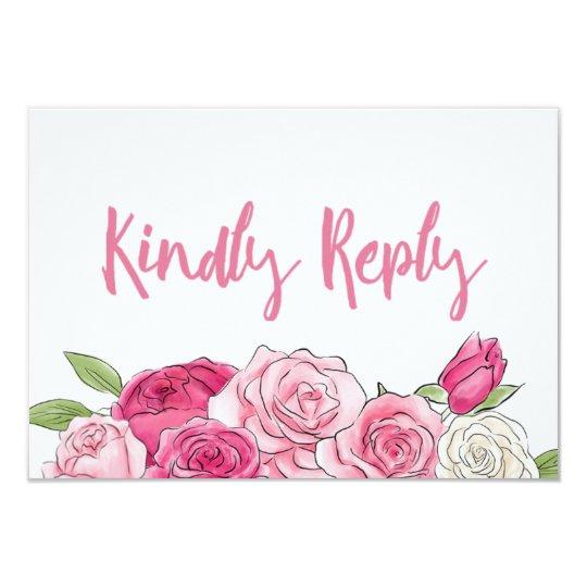 Kort för bröllop OSA för rosa rosvattenfärg blom- 8,9 X 12,7 Cm Inbjudningskort