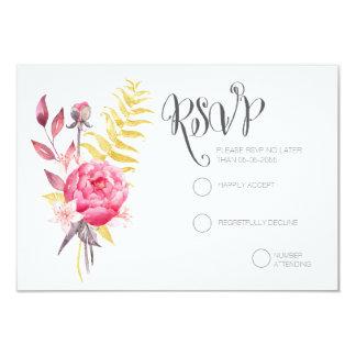 Kort för bröllop OSA för vattenfärgpioner guld- 8,9 X 12,7 Cm Inbjudningskort