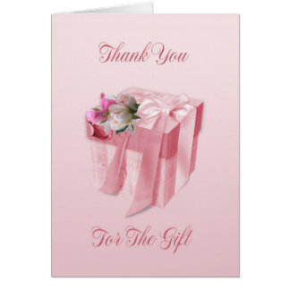 Kort för bröllopgåvatack - den rosa blom- gåvan bo
