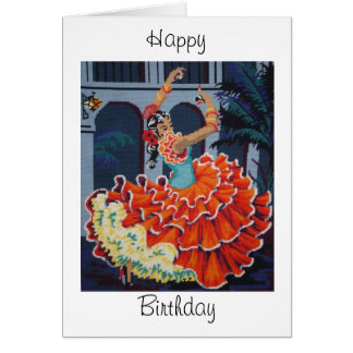 Kort för flamencodansaregrattis på födelsedagen