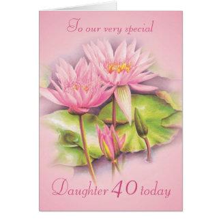 Kort för födelsedag för blom- rosa dotter för