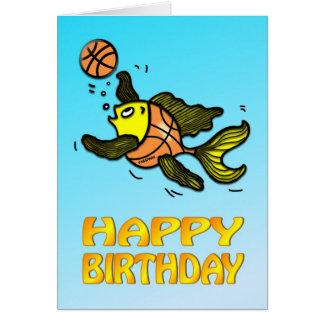 Kort för födelsedag för tecknad för basketfisk rol