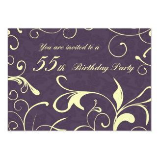 Kort för födelsedagsfest inbjudan för lilagult