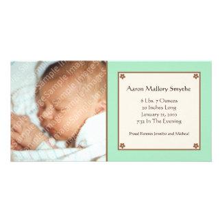 Kort för foto för baby för Mintgröntblomma Fotokort