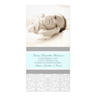 Kort för foto för baby shower för blåttgrå