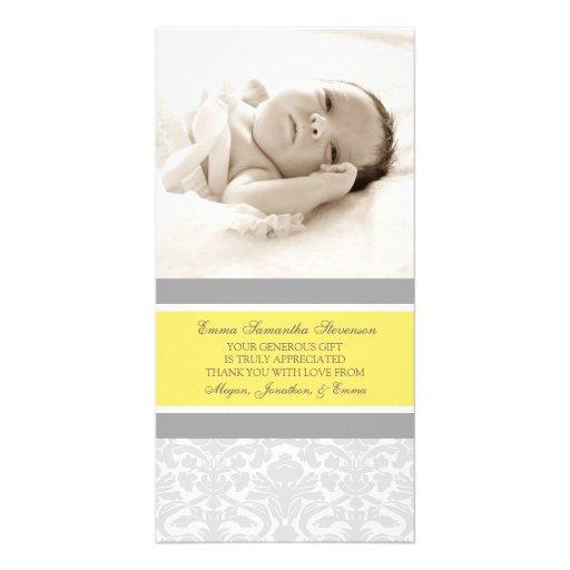 Kort för foto för baby shower för citrongrå färgta fotokort