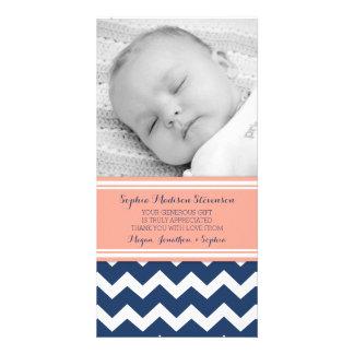Kort för foto för baby shower för korallblåtttack fotokort