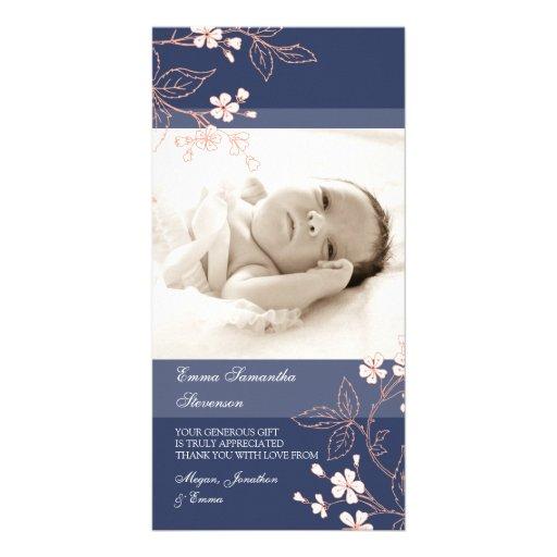 Kort för foto för baby shower för korallblåtttack hälsningskort med foto