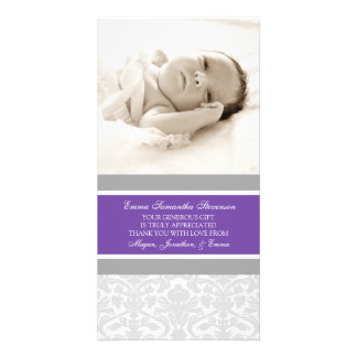 Kort för foto för baby shower för plommongrå