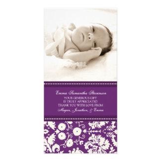 Kort för foto för baby shower för plommonvittack fotokort mall