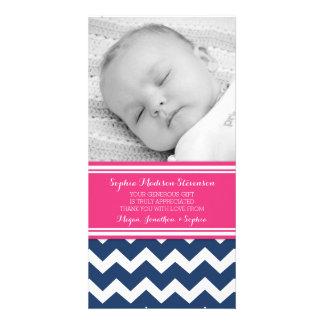 Kort för foto för baby shower för rosablåtttack anpassingsbara fotokort