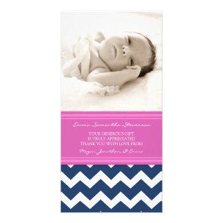 Kort för foto för baby shower för rosablåtttack