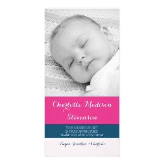 Kort för foto för baby shower för rosablåtttack foto kort