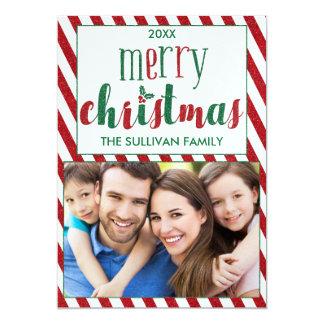 Kort för foto för Fauxglittergod jul med randar 12,7 X 17,8 Cm Inbjudningskort