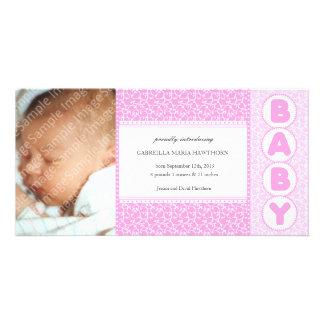 Kort för foto för flicka för nyfödd bebisland