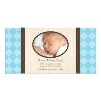 Kort för foto för födelse för baby för pläd för