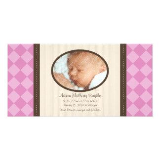 Kort för foto för födelse för baby för pläd för fotokort
