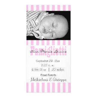 Kort för foto för för nyfödd bebisrosor och vit ra