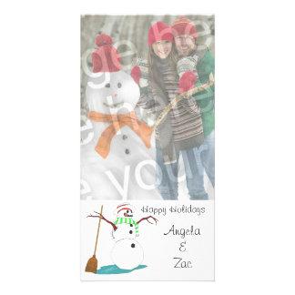 Kort för foto för glad helgsnögubbeanpassade hälsningskort med foto