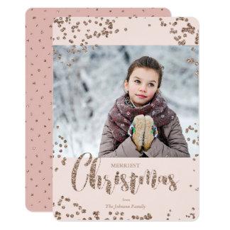 Kort för foto för glitter | för helgdagjul | rosa 12,7 x 17,8 cm inbjudningskort
