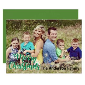 Kort för foto för god julSnowflake | stort ett 12,7 X 17,8 Cm Inbjudningskort