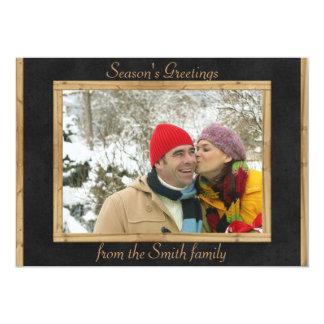 Kort för foto för helgdag för anpassadesvartgrått 12,7 x 17,8 cm inbjudningskort