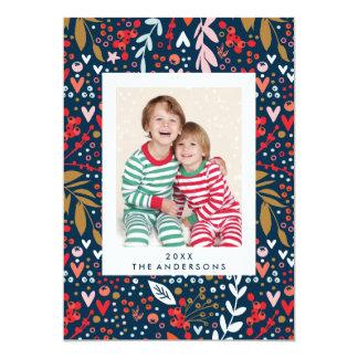 Kort för foto för helgdag för blom- jul för marin 12,7 x 17,8 cm inbjudningskort