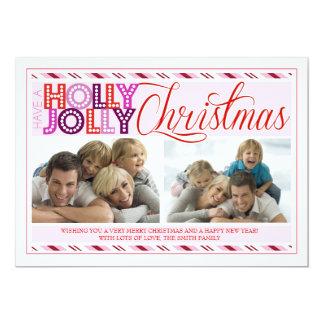 Kort för foto för Jolly jul för järnek modernt 12,7 X 17,8 Cm Inbjudningskort