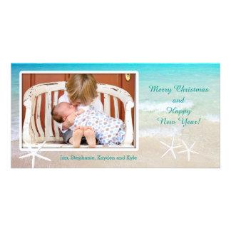 Kort för foto för jul för turkoshavstrand