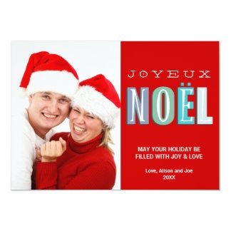 Kort för foto för jul Joyeux Noel för skraj blått 12,7 X 17,8 Cm Inbjudningskort