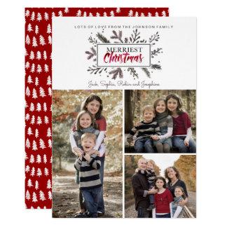 Kort för foto för julhelgdag | botaniskt | 12,7 x 17,8 cm inbjudningskort