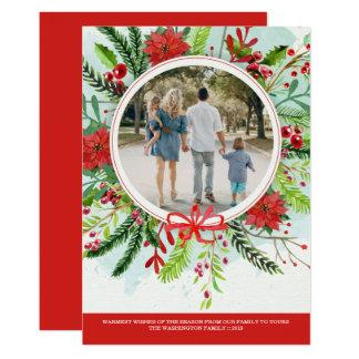 Kort för foto för julhelgdagjulstjärna blom- 12,7 x 17,8 cm inbjudningskort