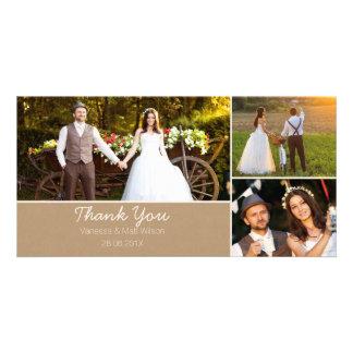Kort för foto för Kraft pappert brölloptack