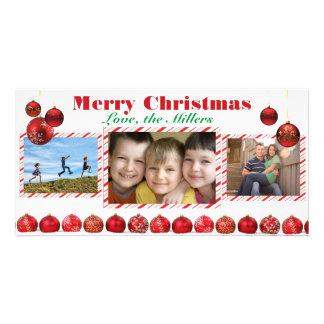 Kort för foto för lökar tre för god jul rött fotokort