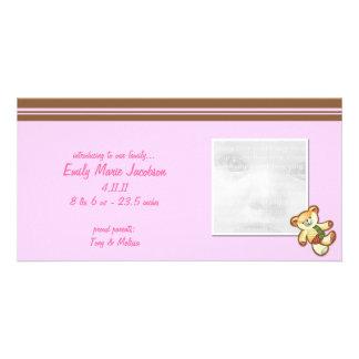 Kort för foto för meddelande för baby för rosababy fotokort mall