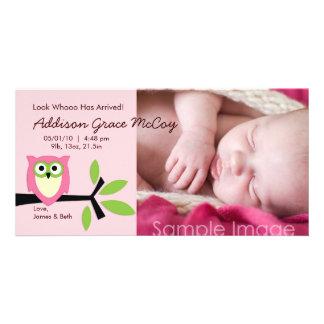 Kort för foto för meddelande för födelse för flick