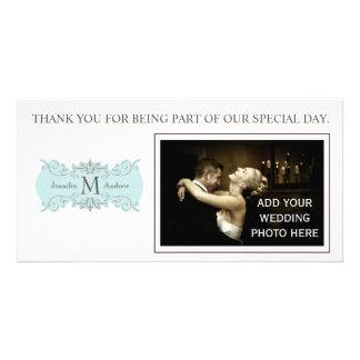 Kort för foto för Monogram för blåttbrölloptack