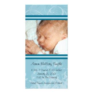Kort för foto för nyfödd bebis för blåttmodstil fotokort