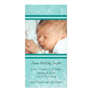 Kort för foto för nyfödd bebis för Mintmodstil Fotokort
