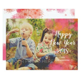 Kort för foto för nytt år för vattenfärgstänk 12,7 x 17,8 cm inbjudningskort