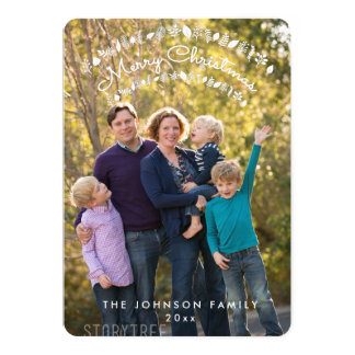 Kort för foto för rundapersonliggod jul 12,7 x 17,8 cm inbjudningskort