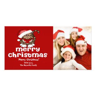 Kort för foto för Santa kattjul