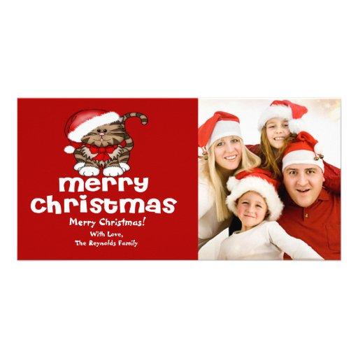 Kort för foto för Santa kattjul Anpassade Foto Kort