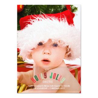 Kort för foto för sida för Jolly jul för järnek 11,4 X 15,9 Cm Inbjudningskort