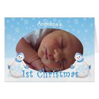 Kort för foto för snögubbe för jul för hälsningskort