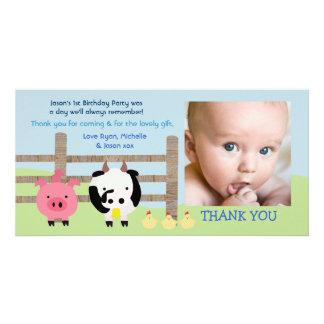 Kort för foto för tack för boskapBarnyardbaby Fotokort