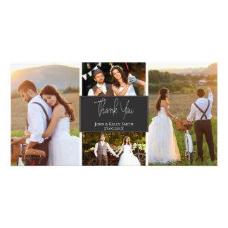 Kort för foto för tack för bröllop för foto för