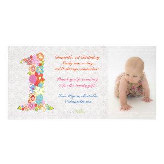 Kort för foto för tack för födelsedag för babybaby fotokort