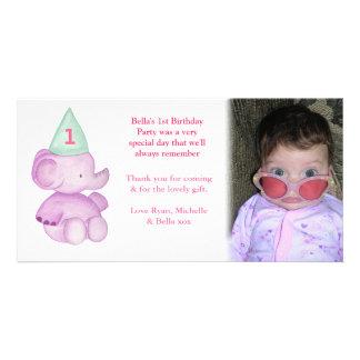 Kort för foto för tack för födelsedag för babyelef fotokort