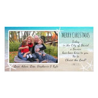 Kort för foto för tropisk julstrand kristet fotokort